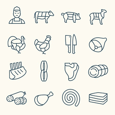 Butchery line icons on plain background Çizim