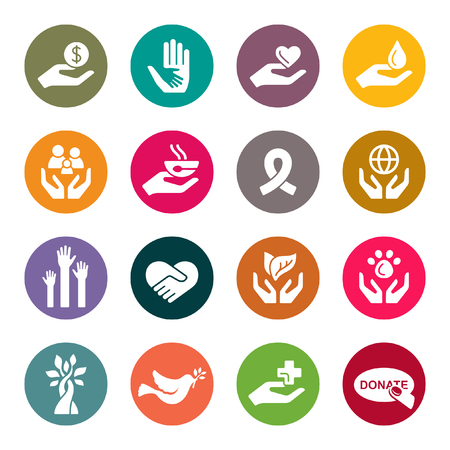 Charity colourful icons