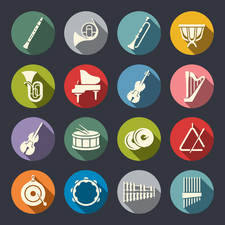 Orchestra musical instruments flat icons
