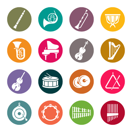 Orchestra instruments colourful icons