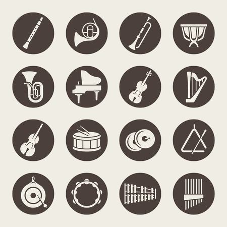 Orchestra musical instruments icons