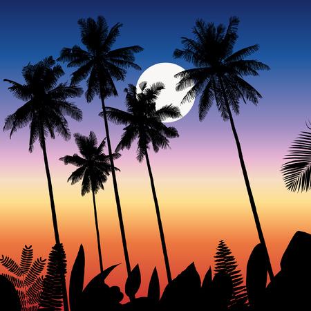 Tropical landscape vector illustration Çizim