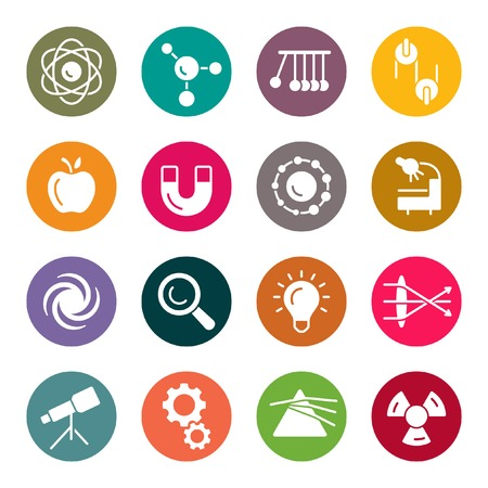 Physics colourful icons Vectores