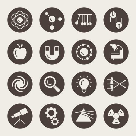Physics icons Stock Illustratie