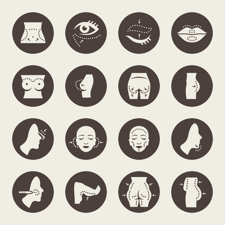 Plastic surgery icons set