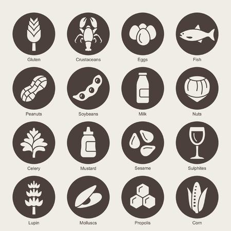 Allergens icons Ilustrace