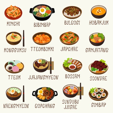Korean food Vectores