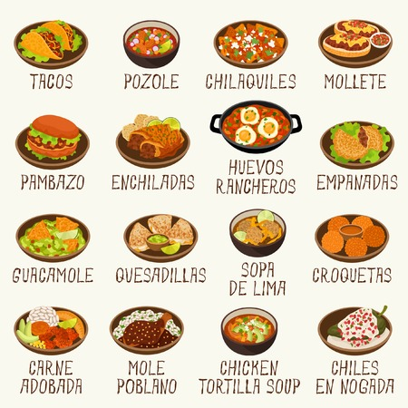 Mexican food set illustration on white background. Vettoriali