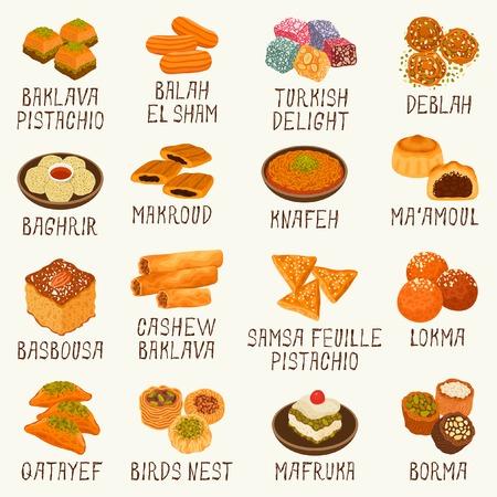 Różne arabskie słodycze Ilustracje wektorowe
