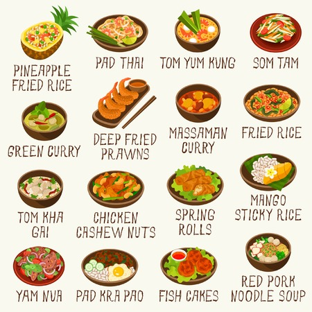 Different Thai food