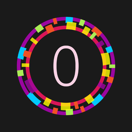 Number 0, abstract bright vector design element