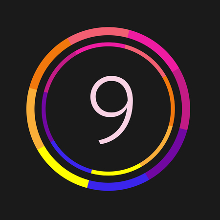 Number 9, abstract bright vector design element