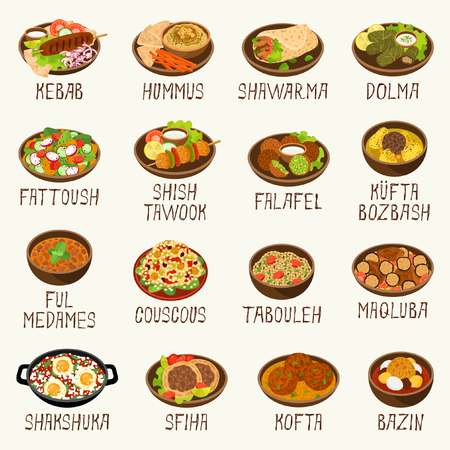 Arabic food set Vector illustration.