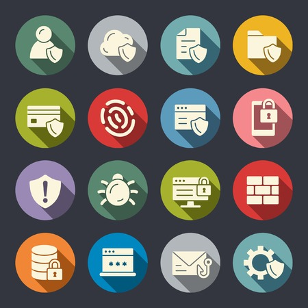 Cyber security flat icons Illustration