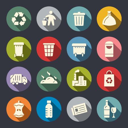 Müll flache Symbole Vektorgrafik