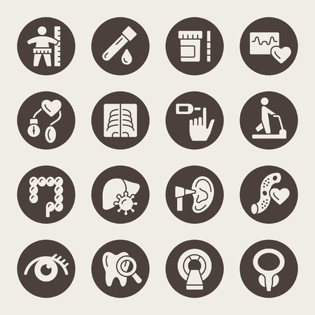 Health check up icons Çizim