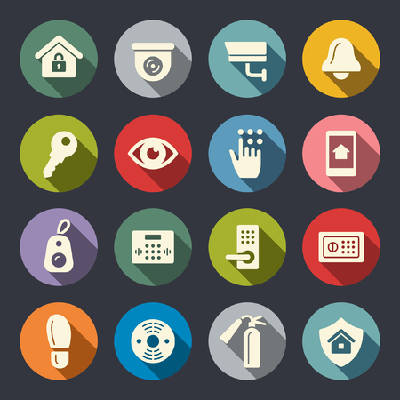 Home security flat icons