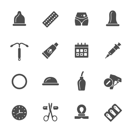 Contraceptive methods icons Illustration