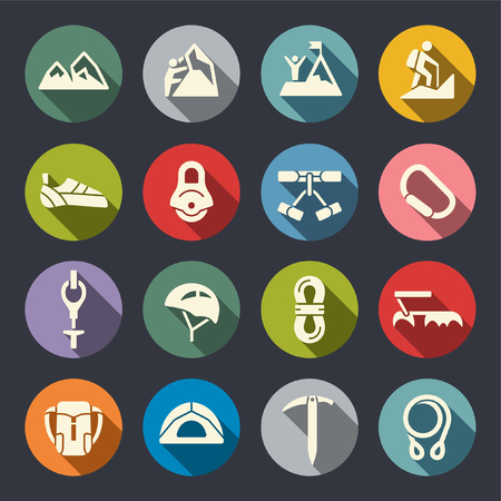 Climbing flat icons
