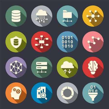 Big data flat icons