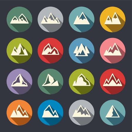 Mountains flat icons Illustration