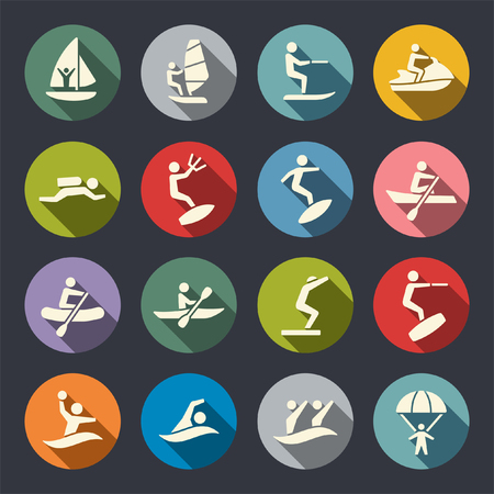 Water sports flat icons Vectores