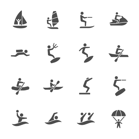Water sports icons Ilustração Vetorial