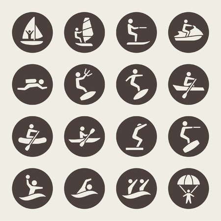 Iconos de deportes acuáticos Ilustración de vector
