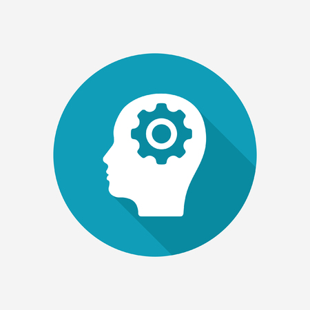 Human head with gear icon Illustration