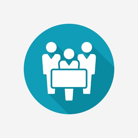 People with banner icon Illustration