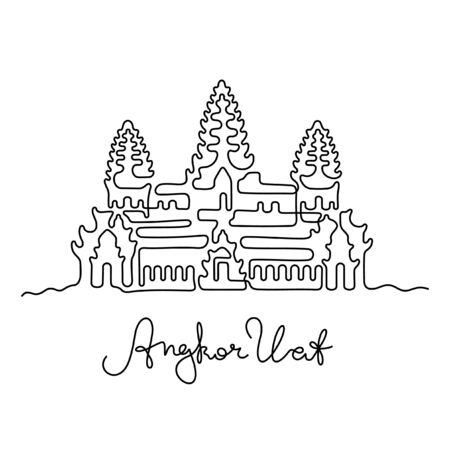 Angkor Wat, Cambodia one line vector illustration