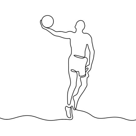 Basketball player one line vector illustration