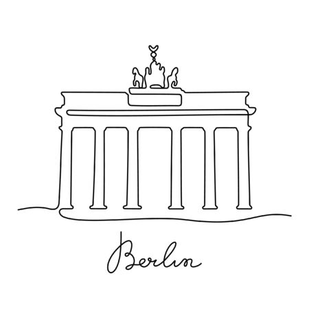 Berlin, Brandenburg Gate one line vector illustration
