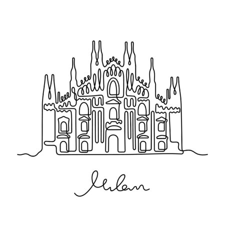 Milan Cathedral, Italy. One line vector illustration