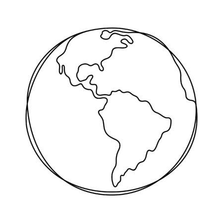 Earth one line vector illustration
