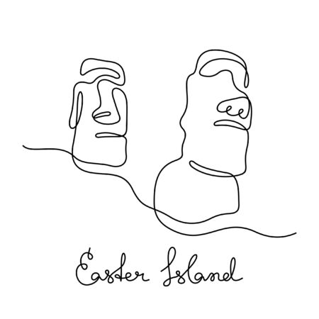 Easter Island, Chile one line vector illustration Illustration