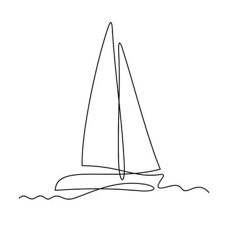 Illustrazione vettoriale di una linea di yacht Vettoriali