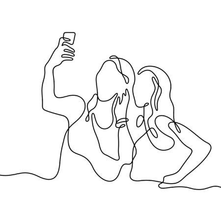 Girls making selfie one line vector illustration