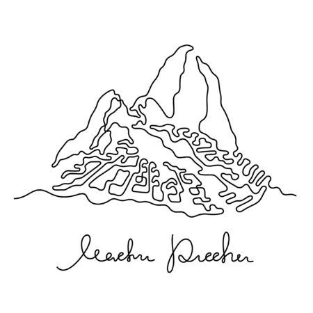 Machu Picchu, Peru one line vector illustration Ilustração