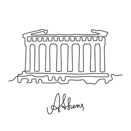 Athen, Parthenon einzeilige Vektorillustration