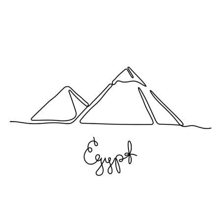 Egypte, pyramides de Gizeh une ligne vector illustration