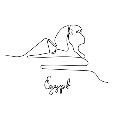 Egypt, Sphinx and Great Pyramids of Giza one line vector illustration