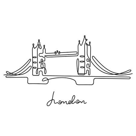 Tower Bridge, London. One line vector illustration.