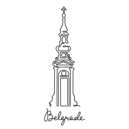 Belgrade, St. Michael's Cathedral one line vector illustration