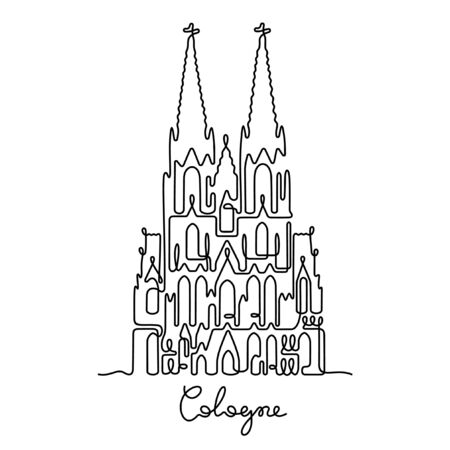 Cologne, The Cologne Cathedral one line vector illustration