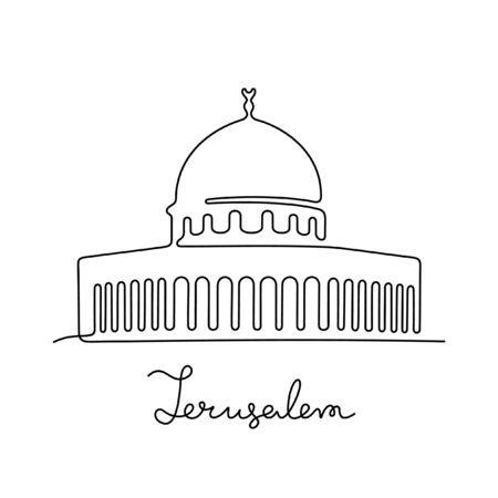 Jerusalem, The Dome of the Rock one line vector illustration Vetores