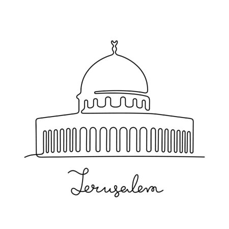Jerusalem, The Dome of the Rock one line vector illustration