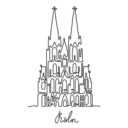 Koln, The Cologne Cathedral one line vector illustration