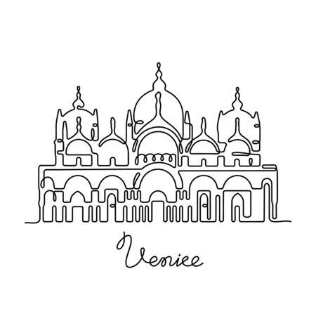 Venice, St Mark's Basilica one line vector illustration