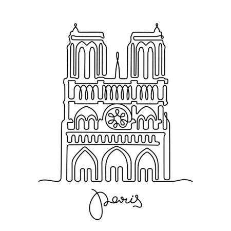 Paris, Notre Dame de Paris one line vector illustration